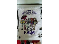 MONSTER HIGH PERSONALISED DRAWSTRING SWIMMING POOL DANCE CLASS GYM BAG EMMA