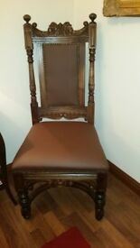 8 x Beautiful Solid Oak Hand Carved Dining Chairs