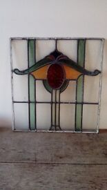 "Four Identical Victorian Stained and Leaded Glass Panels. 19"" x 19"" approx."