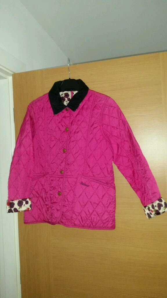 Girls barbour jacket pink XL 12-13 years