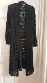 Anthology longline crochet black cardigan, size 20/22 - used