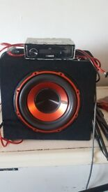 750watt sub built in amp plus jvc stereo