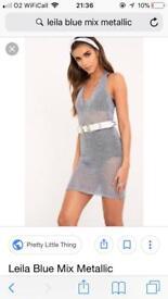 Blue metallic knit halterneck dress 6 - 12
