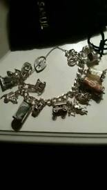Beautiful old Silver charm bracelet to fit large wrist different charms as you can see