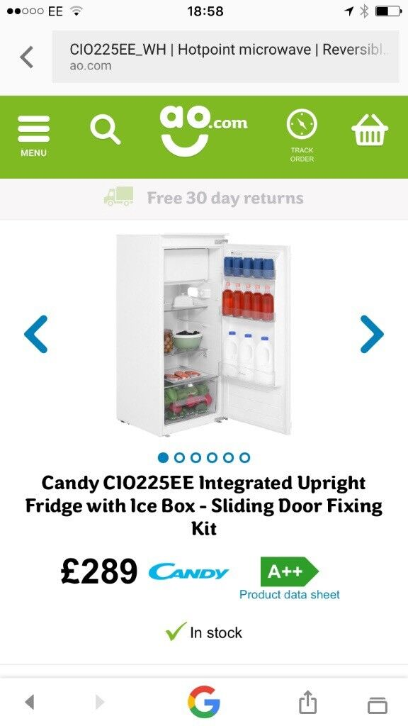 Candy Intergrated Larder Fridge with Ice Box New and Unused