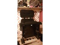 Vintage cinema seats/black textile rare double back in need of a good clean