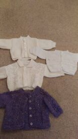 baby girls hand knitted cardgians