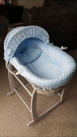 Rocking Clair de Lune Moses basket and stand blue and grey