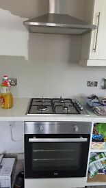 Electric oven, extractor fan and gas hob