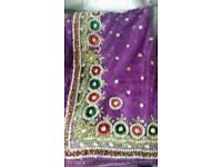 Purple net sari