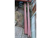 2 HEAVY DUTY METAL GATE POST, 9 FT 4 INCH LONG X 4 ,INCH X 3/1/2 WIDE, IDEAL STRONG GATE POSTS.
