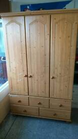 Wardrobe triple door chest at the bottom