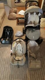 Graco Quattro Deluxe Bear & Friends Travel System LIKE NEW CONDITION with Junior Baby car seat base