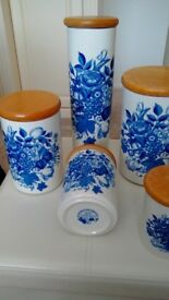 Portmeirion Harvest Blue 5 x Storage Jars