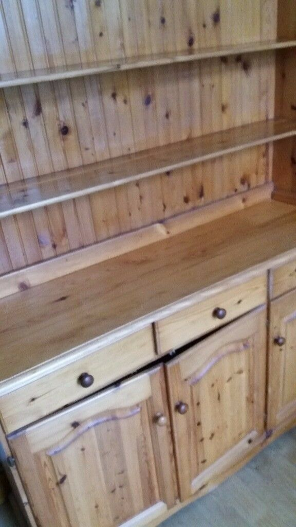 Large Pine dresser in 2 parts base cupboards and top dresser