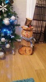 handmade log snowman⛄
