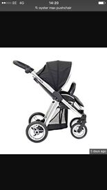 REDUCED!!! Black Oyster Max Pushchair mirrored chassis