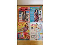4 x Sewing magazines - Simply Sewing, Sew, Sewing Made Simple and Sew Style.
