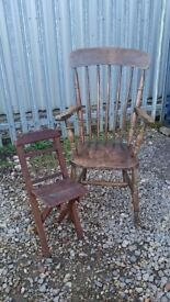 OLD ANTIQUE HIGHBACK CHAIR
