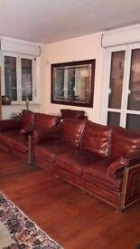 Handmade classic leather 3 piece suite