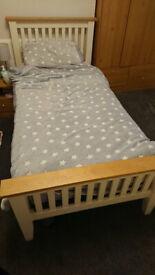 Cream pine & oak wood bed frame + mattress, like new!