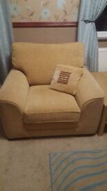 Settee, armchair, recliner and storage puffee for sale