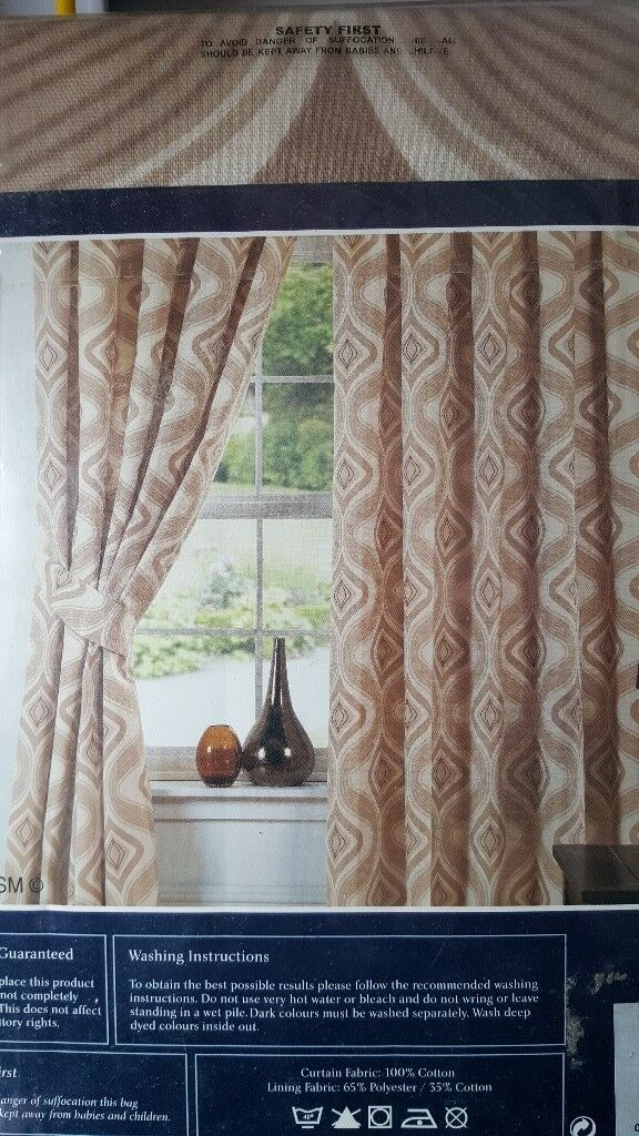 Fully Lined Tape Top Curtains Beige Mocha Width 65 Inches 165cm Height 72