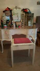 Lovely dressing table with 3 mirrors white shabby chic girls