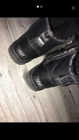 Short Black Leather Ugg Boots