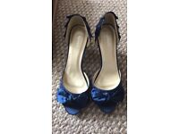 Navy blue peep toe shoes
