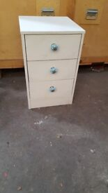 Shabby Chic Bedside cabinet with blue knobs