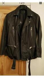 Ladies black leather All Saints jacket size uk 8 RRP £420 beautiful leather jacket