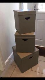 Large leather storage boxes