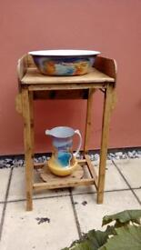 Vintage pine wash stand with jug and bowl