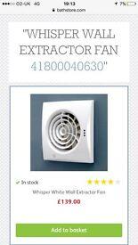 Whisper wall extractor fan