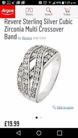 Silver 925 crossover ring size N