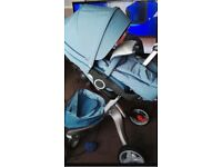 Stokke xplory in sky blue with car seat and adapters £350