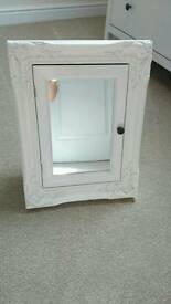 White ornate mirror wall cabinet