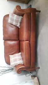Parker Knoll brown leather sofa
