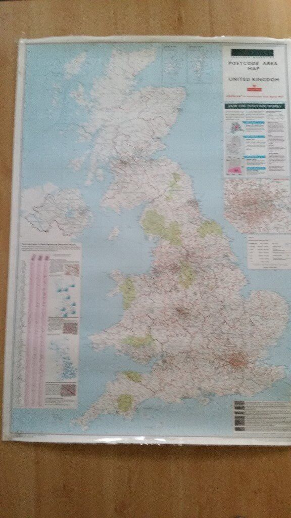 LARGE LAMINATED UK POST OFFICE POST CODE WALL MAP In Burbage - Large wall map of uk