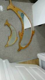 Pair of dolphin mirrors