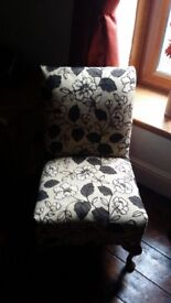 Brown & cream floral bedroom chair. Recently reupholstered.