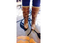 New Look Womens Brown Calf Length Mid Heeled Leather Boots - Size 5