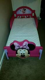 Minnie mouse toddler bed with brand new mattress
