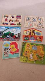 6 wooden toddler jigsaws excellent condition