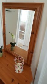 Pine framed bevelled mirror in excellent condition