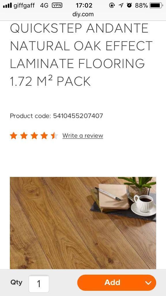 17 1 Free Pack Of Quickstep Adante Natural Oak Effect Laminate Flooring
