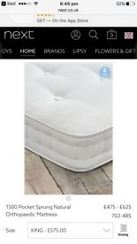 A brand new NEXT king size 1500 pocket sprung orthopaedic mattress