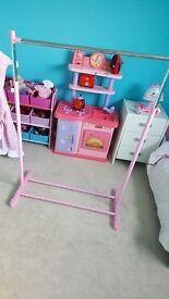 Pink clothes rail