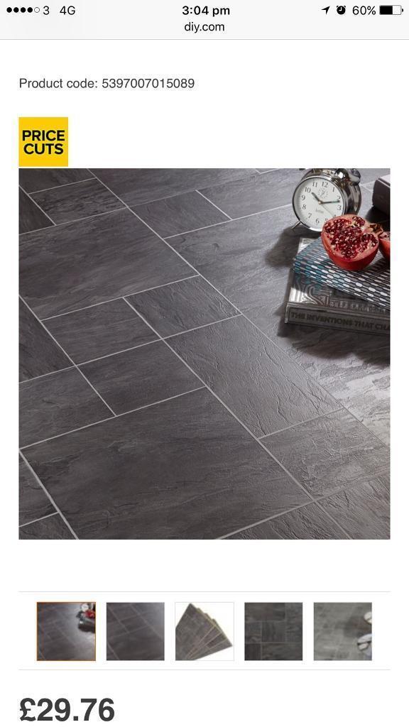 Cheap Flooring 10 Packs Of Black Slate Tile Effect Laminate Flooring